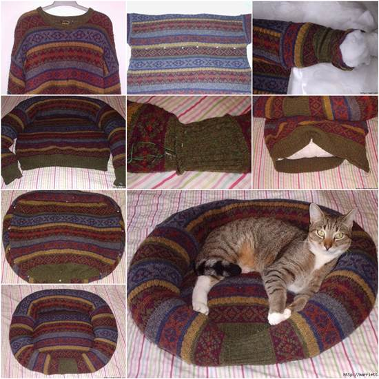 Pet-Bed-from-Old-Sweater (1)
