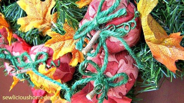 Fall pumpkin tutorial wreath sewing