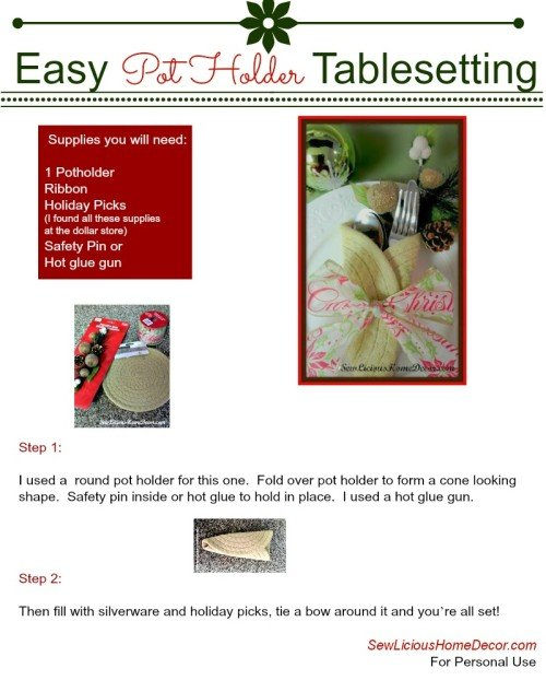 Easy Pot Holder Tablesetting PDF sewlicioushomedecor.com