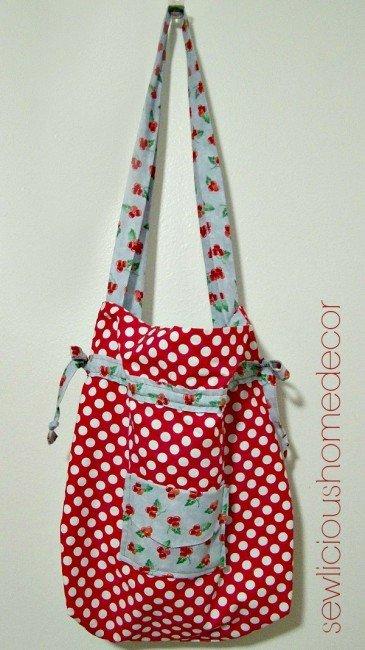 Red reversible hand bag