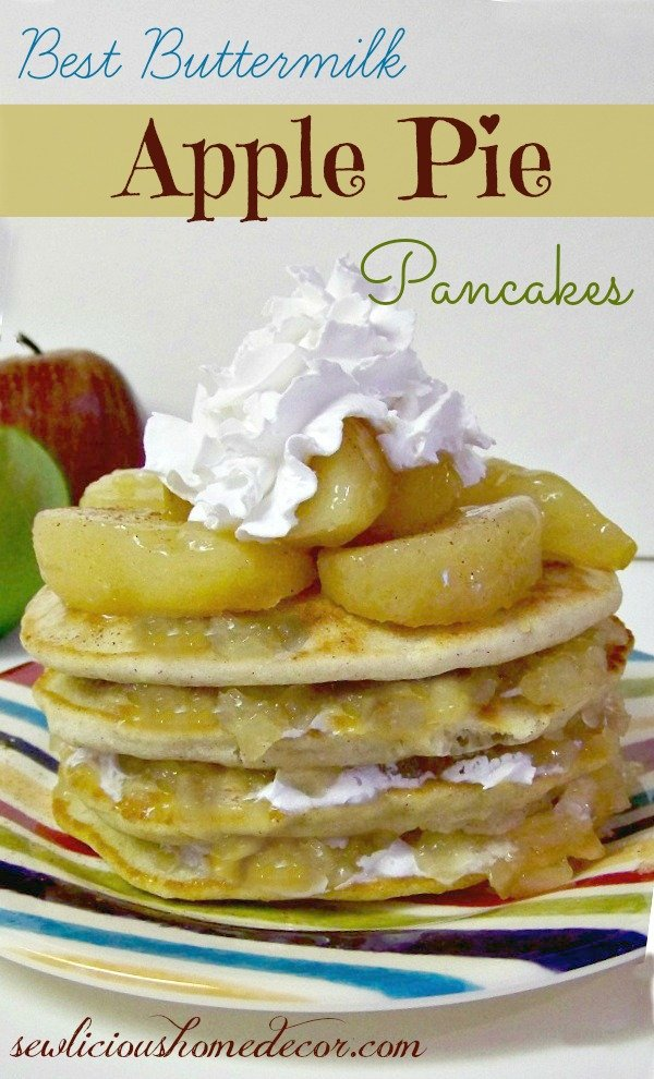 Best Buttermilk Apple Pie Pancakes with Cinnamon and Whip Cream
