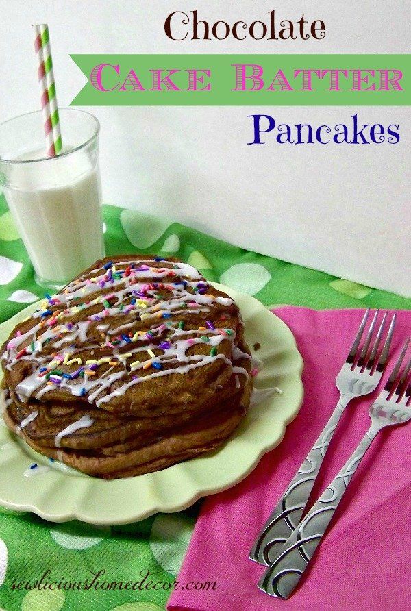 Chocolate Cake Batter Pancakes with milk pic