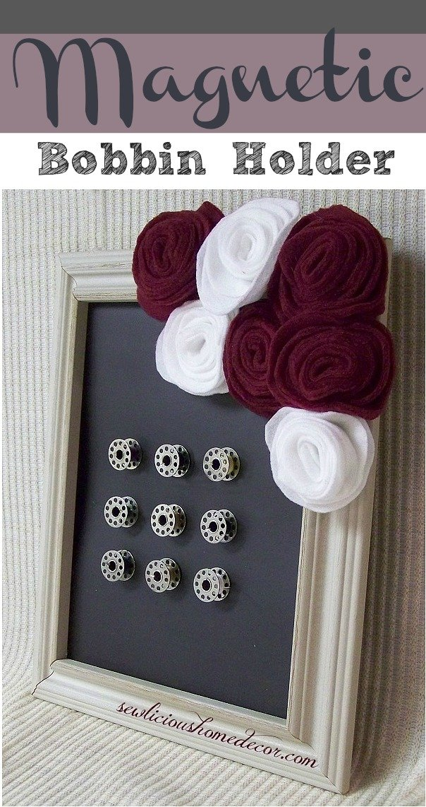 Magnetic Sewing Bobbin Picture frame holder and flower tutorial