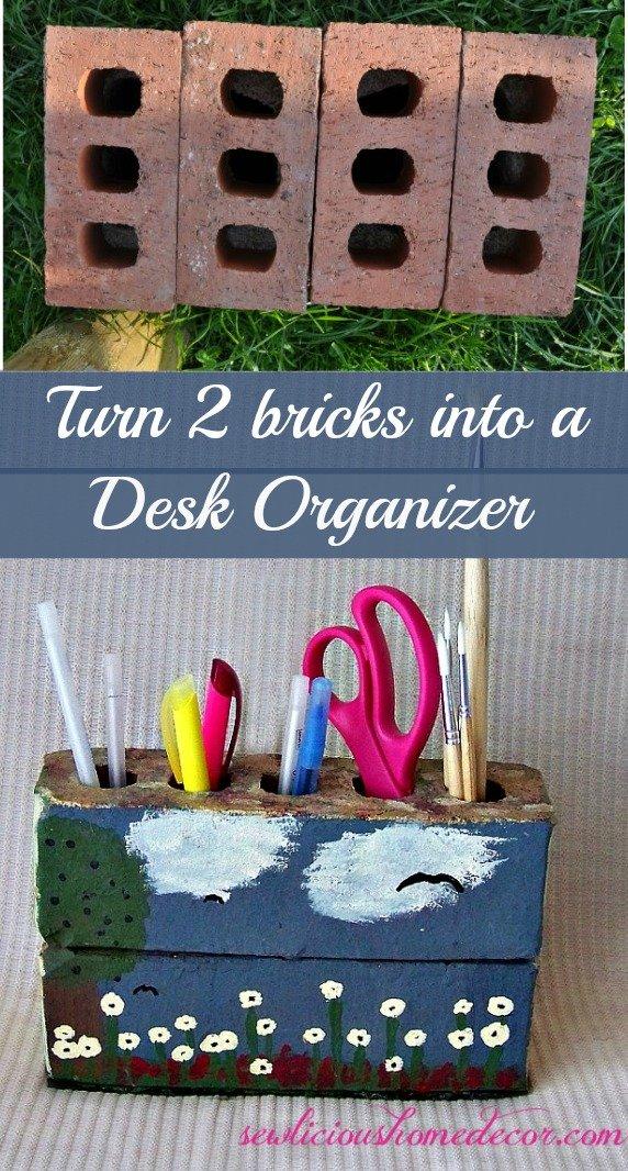 Two bricks desk organzier