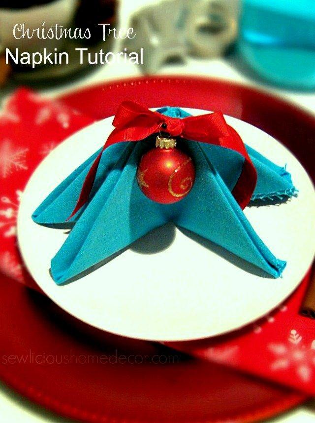 DIY Christmas-Tree-Napkin-Tutorial