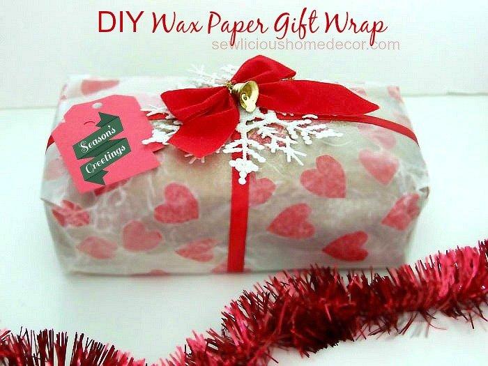 DIY Wax Paper Gift Wrap at sewlicioushomedecor.com