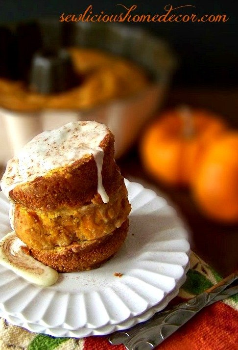 Pumpkin Cake French Toast with Eggnog Syrup