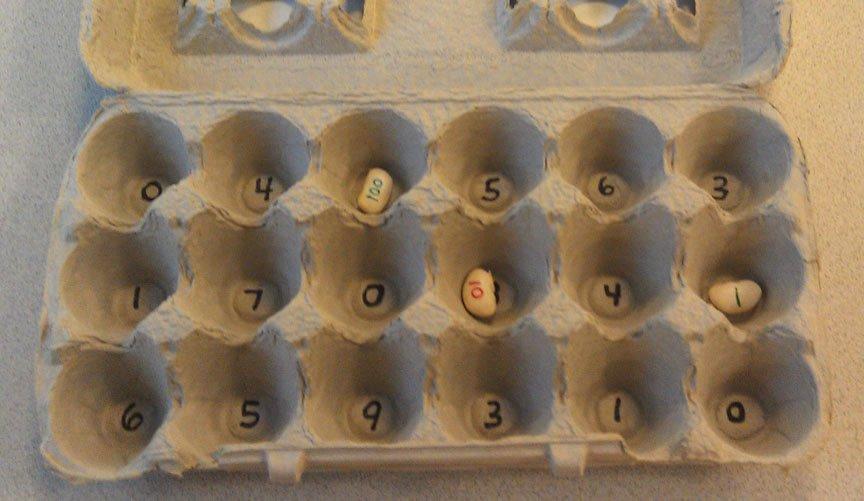 reuse egg carton for math game