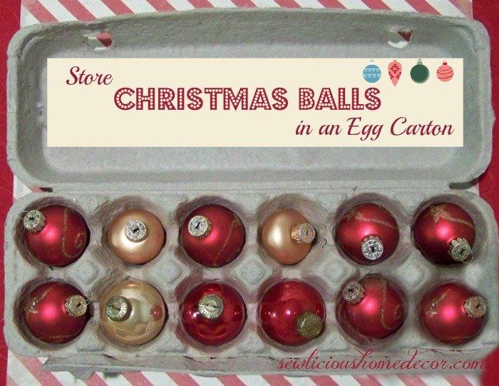Reuse egg cartons to store christmas balls
