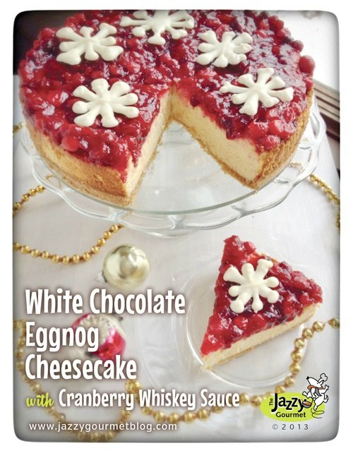 White Chocolate Eggnog Cheesecake with whisky sauce and white chocolate snowflake tutorial.