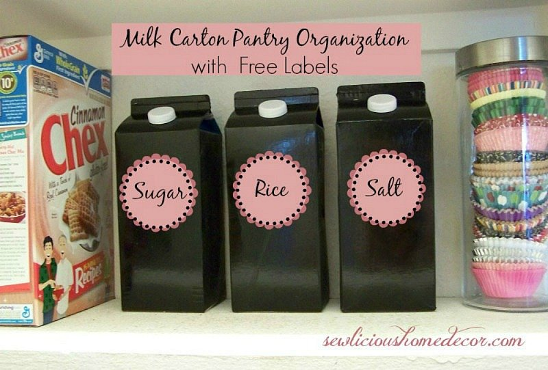Recycled Milk Cartons used for Pantry Storage Organization. sewlicioushomedecor.com
