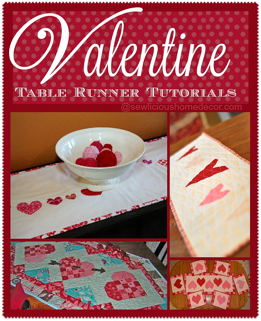 Valentine Table Runners Sewing Tutorials at sewlicioushomedecor.com