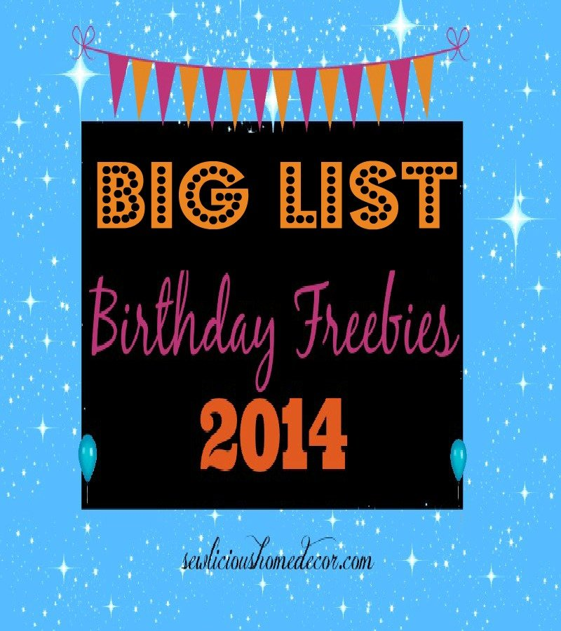 Big list of birthday freebies