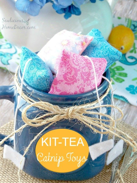 Kit Tea Catnip Toys Sewing Tutorial #kitty #toys sewlicioushomedecor.com