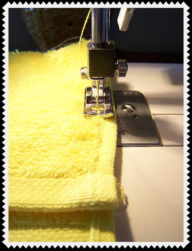 Sew up both sides of washcloth