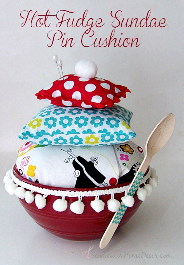 Hot Fudge Sundae Pin Cushion at sewlicioushomedecor