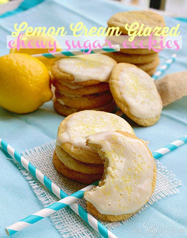 lemon cream glazed chewy sugar cookies