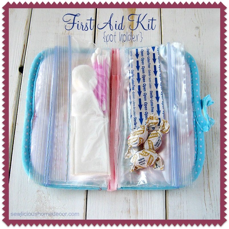 First Aid Kit Reusing a pot holder sewing tutorial sewlicioushomedecor.com
