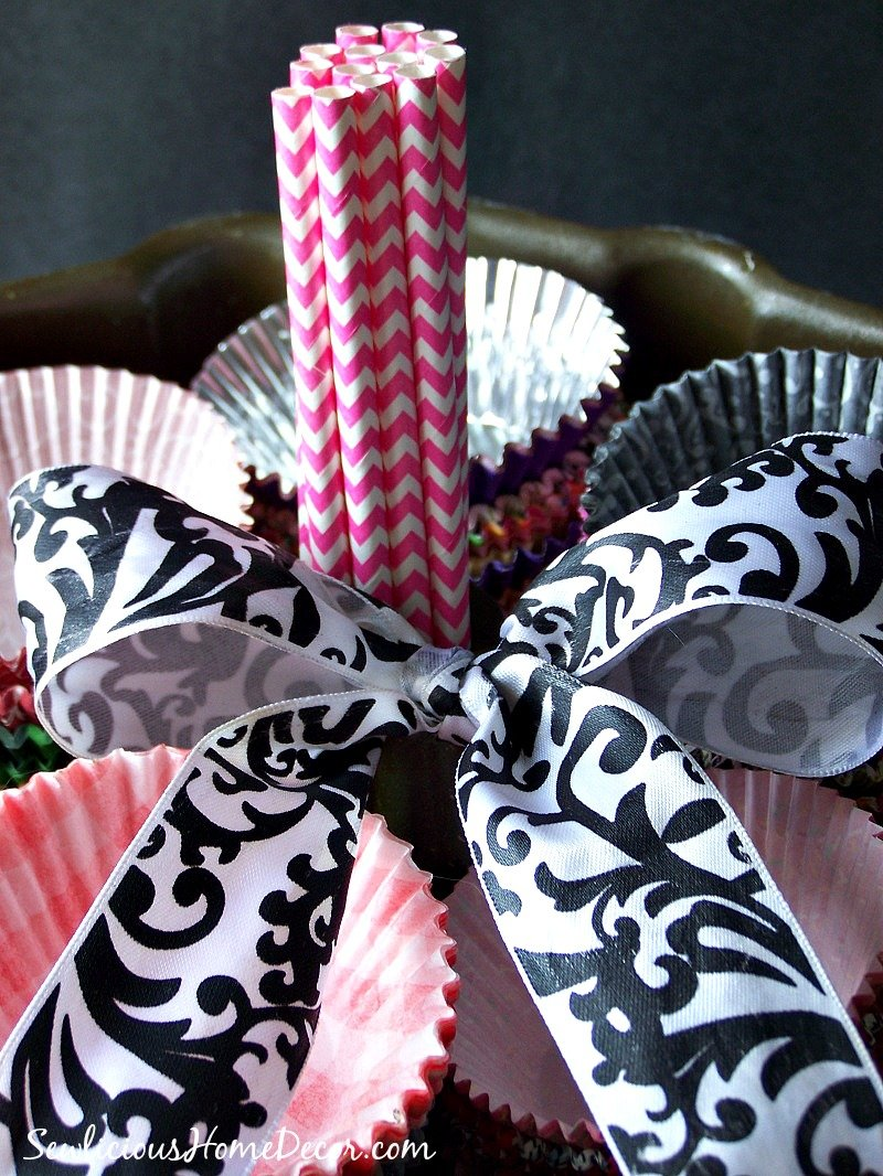 Easily turn a bundt pan into a Bundt Pan Gift Basket.  Fill it with cupcake liners or other kitchen items.  Wrap a bow around it for a fun and creative gift!