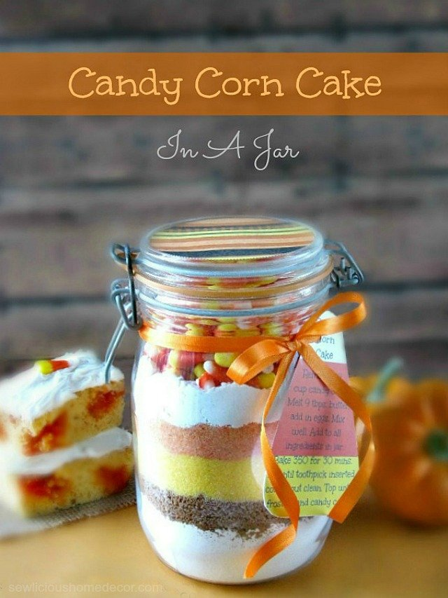 A Delicious and Fun Candy Corn Cake In A Jar at sewlicioushomedecor.com