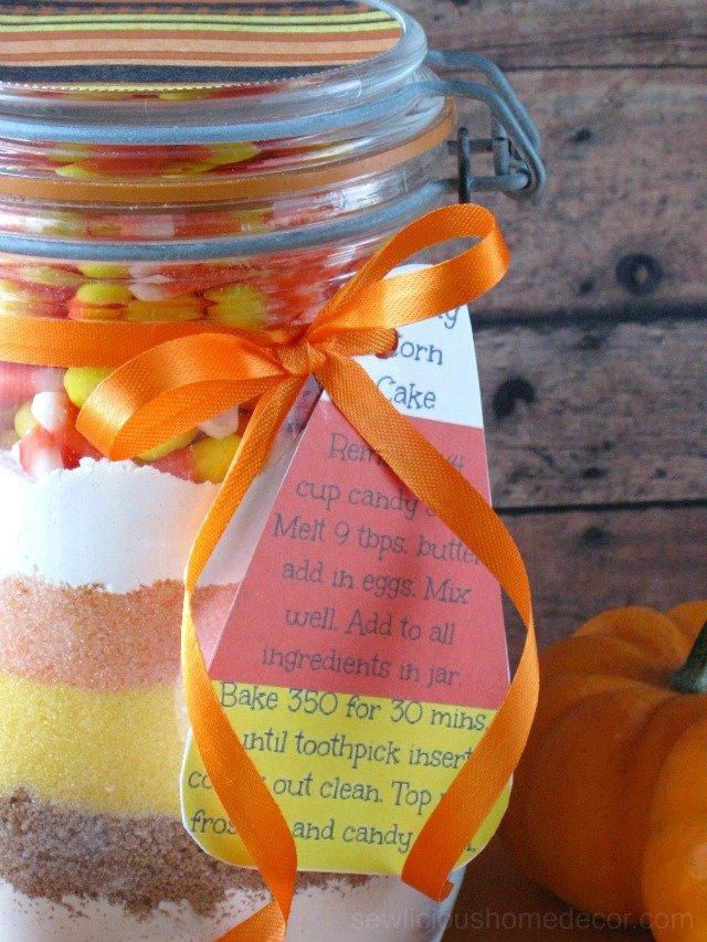 Candy Corn Cake In A Jar