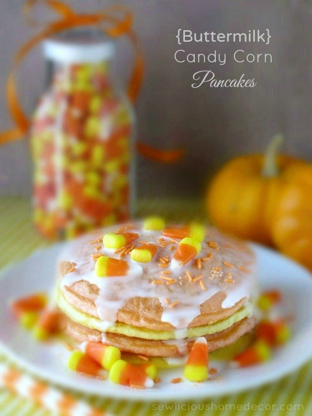 Halloween Buttermilk Candy Corn Pancakes by sewlicioushomedecor.com