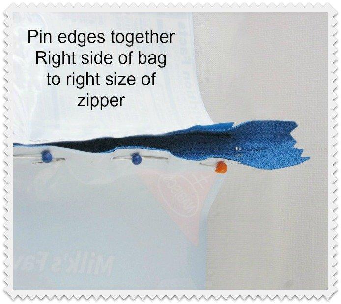pin zipper to bag
