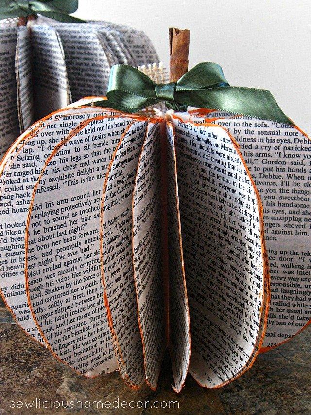 Book Page Pumpkins Easy Tutorial