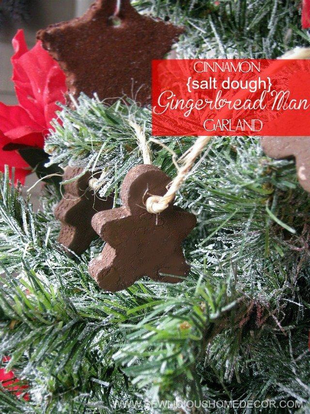 Cinnamon Salt Dough Gingerbread Man Garland