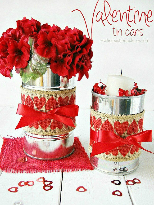 Red Valentine Tin Cans with Burlap