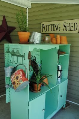 Recycled entertainment center potting planter shed organizer