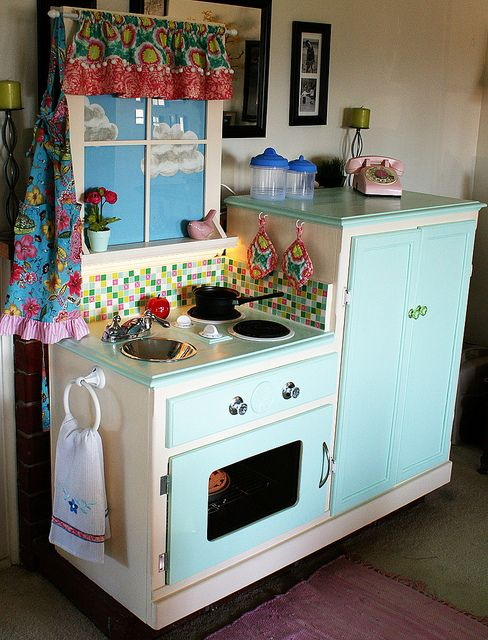 Recycle entertainment center play kitchen