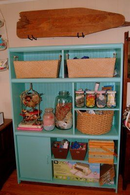 Recycled entertainment center food storage organizer