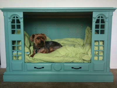 Recycled entertainment center dog bed