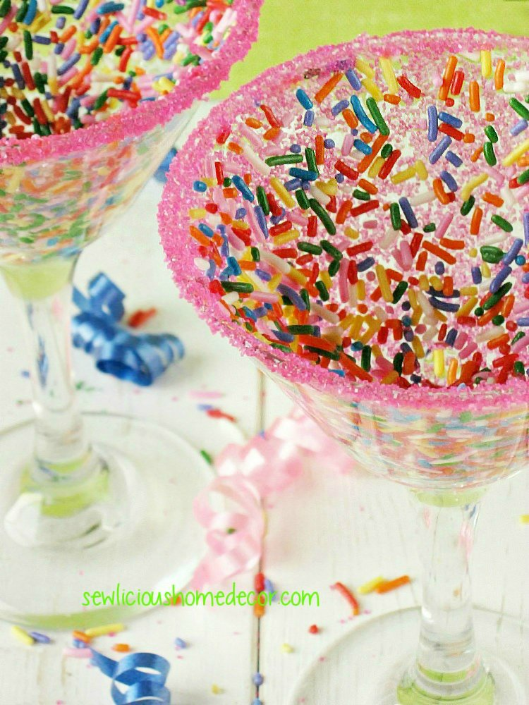 DIY Funfetti Drinking Glasses Candy Coated sewlicioushomedecor