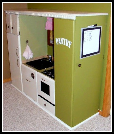 Recycled entertainment center play kitchen with pantry