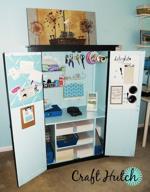 Recycled entertainment center craft room