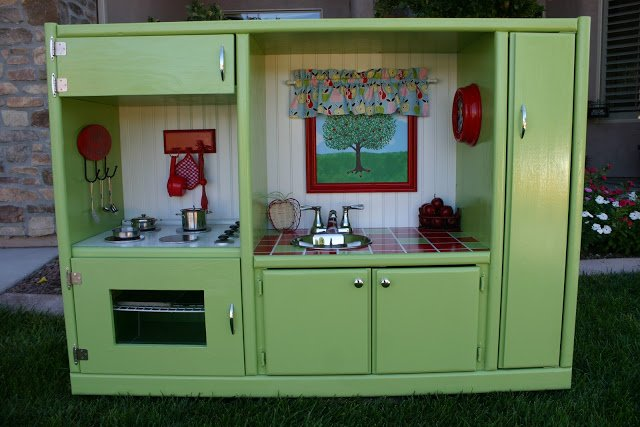Recycled entertainment center play kitchen