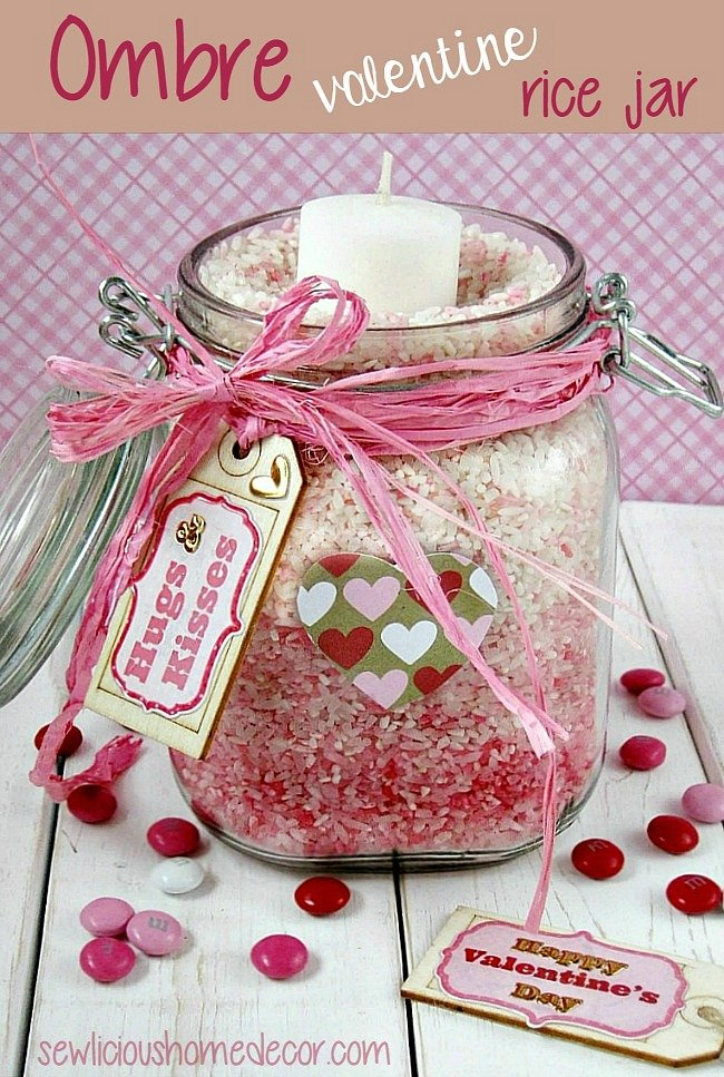 Ombre Valentines Rice Jars at sewlicioushomedecor