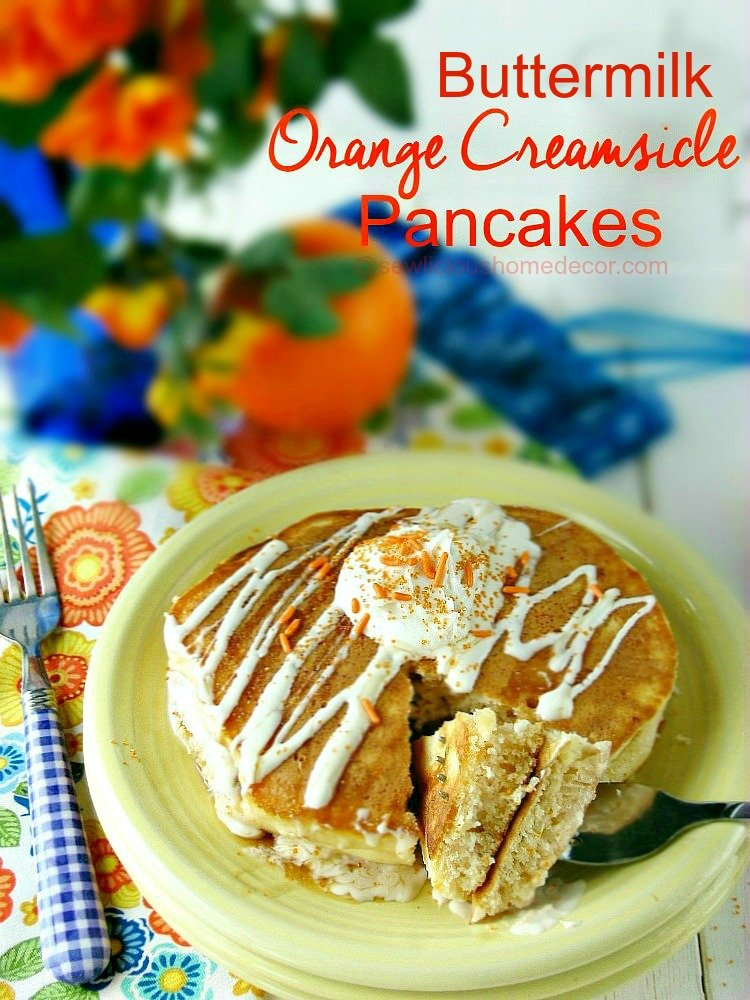 Orange Creamsicle Pancakes with cookie mix in the batter.