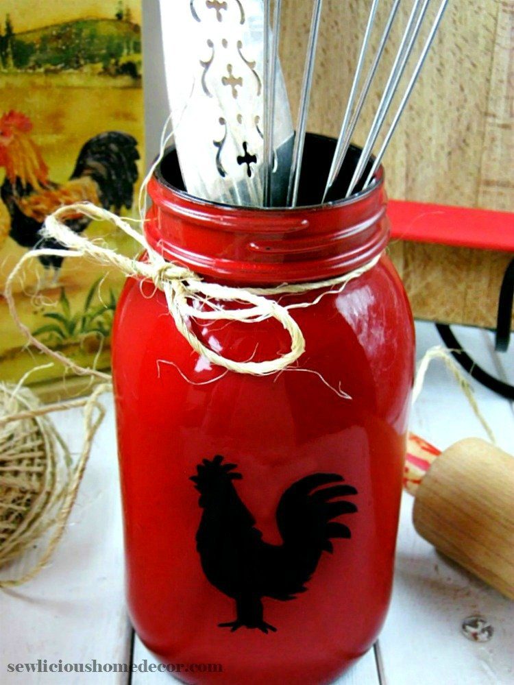 Red Rooster Mason Jar Tutorial sewlicioushomedecor.com