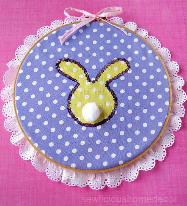Bunny Embroidery Hoop Sewlicioushomedecor.com