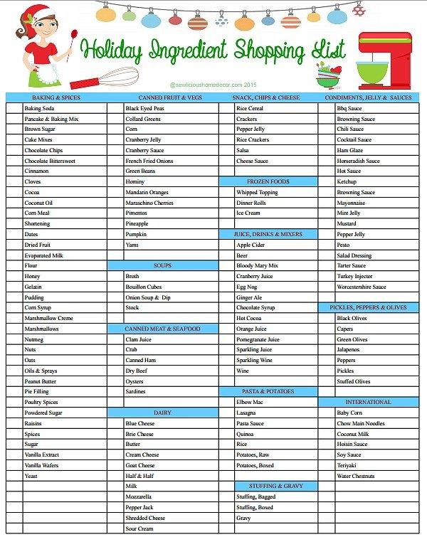 Holiday Ingredient Shopping List at sewlicioushomedecor.com