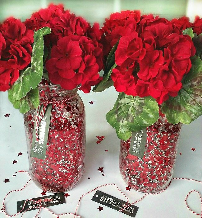 Red DIY Confetti Mason Jar Crafts. They make great gifts for any home! sewlicioushomedecor.com