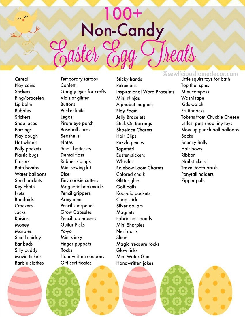 100+ Non Candy Easter Egg Treats Free Printable at sewlicioushomedecor