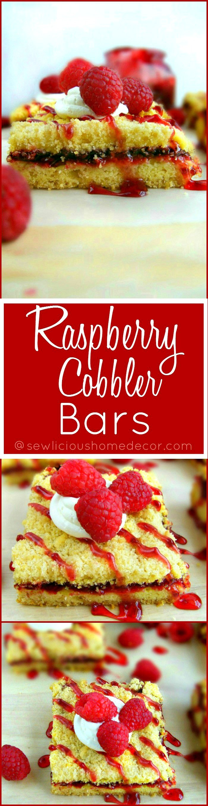 Best Quick and Easy Raspberry Cobbler Bars made with a yellow cake mix. Pinterest