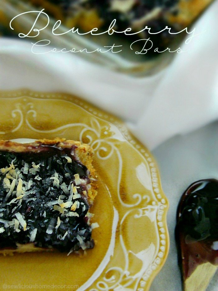 Blueberry Coconut Cheesecake Bars With A Yellow Cake Mix Crust