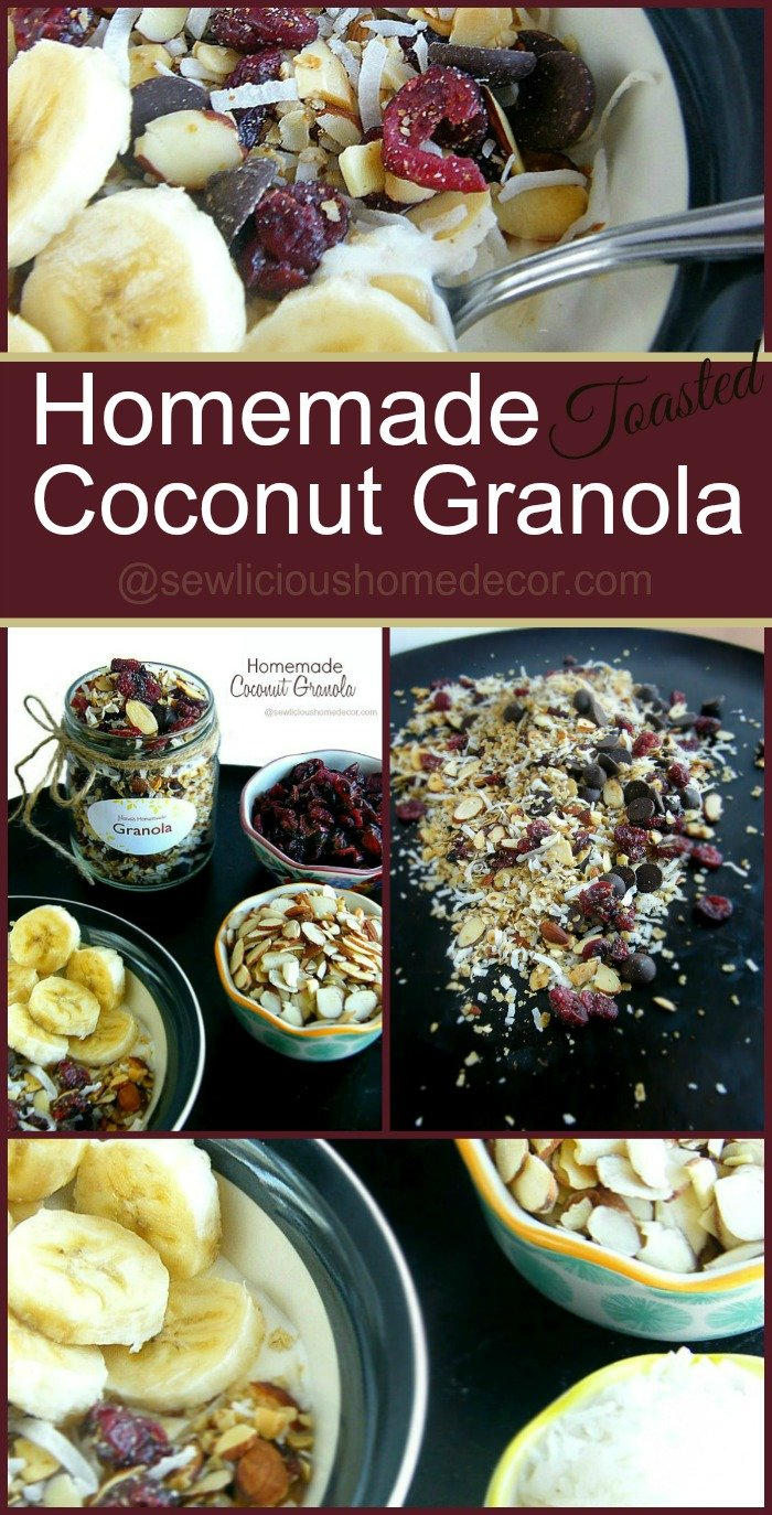 Homemade Toasted Granola. Top your favorite yogurt with this delicious granola and add fruit for a healthy snack.