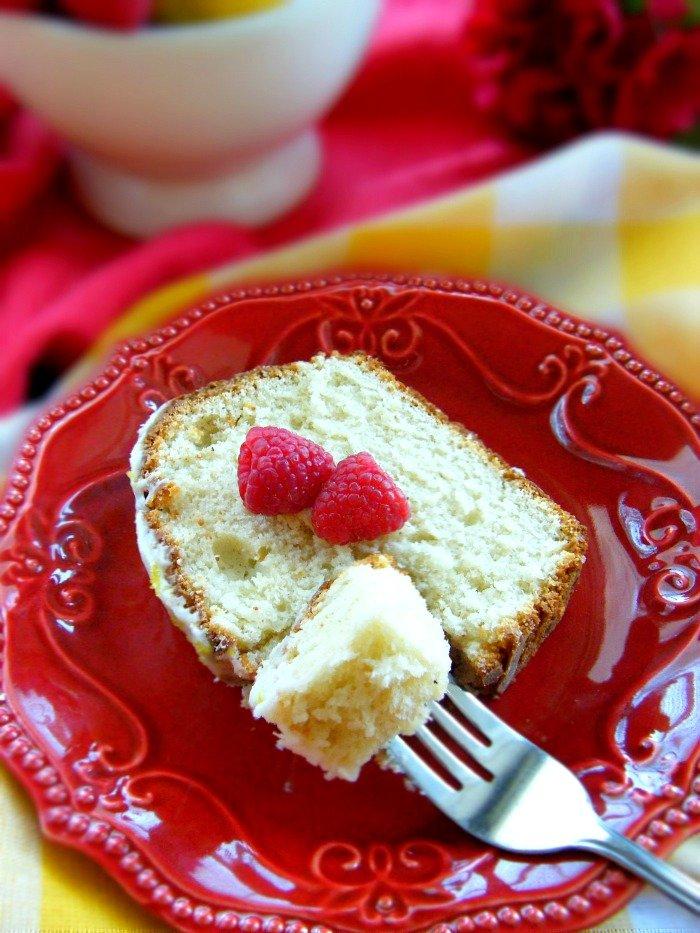 Lemon Yogurt Raspberry Pound Cake sewlicioushomedecor.com