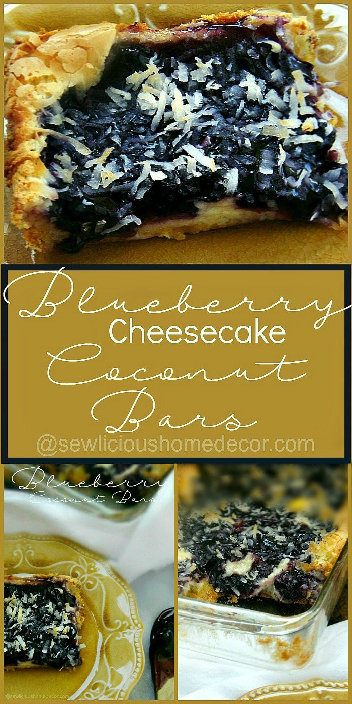 Sweet and Creamy Blueberry Cheesecake Coconut Bars Pinterest